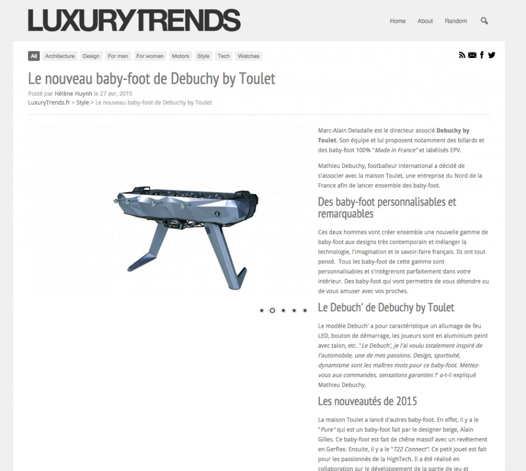 baby-foot Debuchy By Toulet dans Luxury Trends
