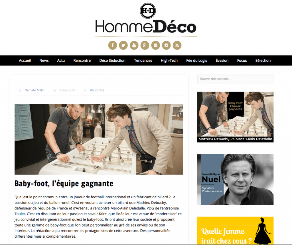 Actualités- artcile hommedéco-Debuchy by toulet - baby-foot