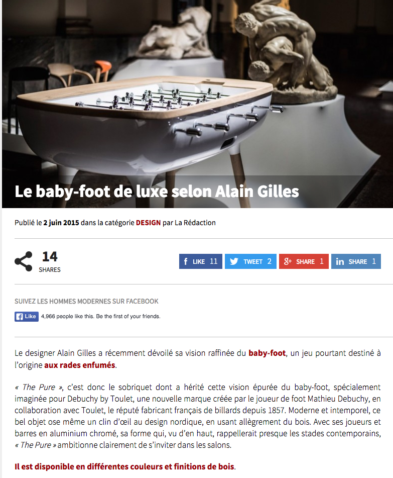 Actualité- article les hommes modernes - babyfoot - babyfoot moderne - babyfoot the pure- Debuchy by toulet