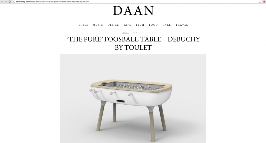 article daan magazine- debuchy by toulet - baby-foot design - baby-foot the pure